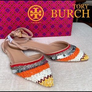 TORY BURCH Isle Embellished Ankle S…